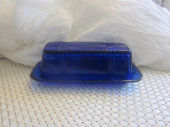COBALT BLUE MIDCENTURY Butter Dish by AllwaysSomethingBlue on Etsy