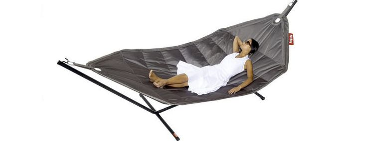 I'll be relaxing in the ultra modern 21st century Fatboy Headdemock Hammock this summer. This oversized indoor/outdoor specially coated nylon hammock is not only super stylish in 8 different colors, it can hold up to 3 people. There's simply no other hammock around that looks this comfortable, can clean as easily or look as cool hanging in my office.
