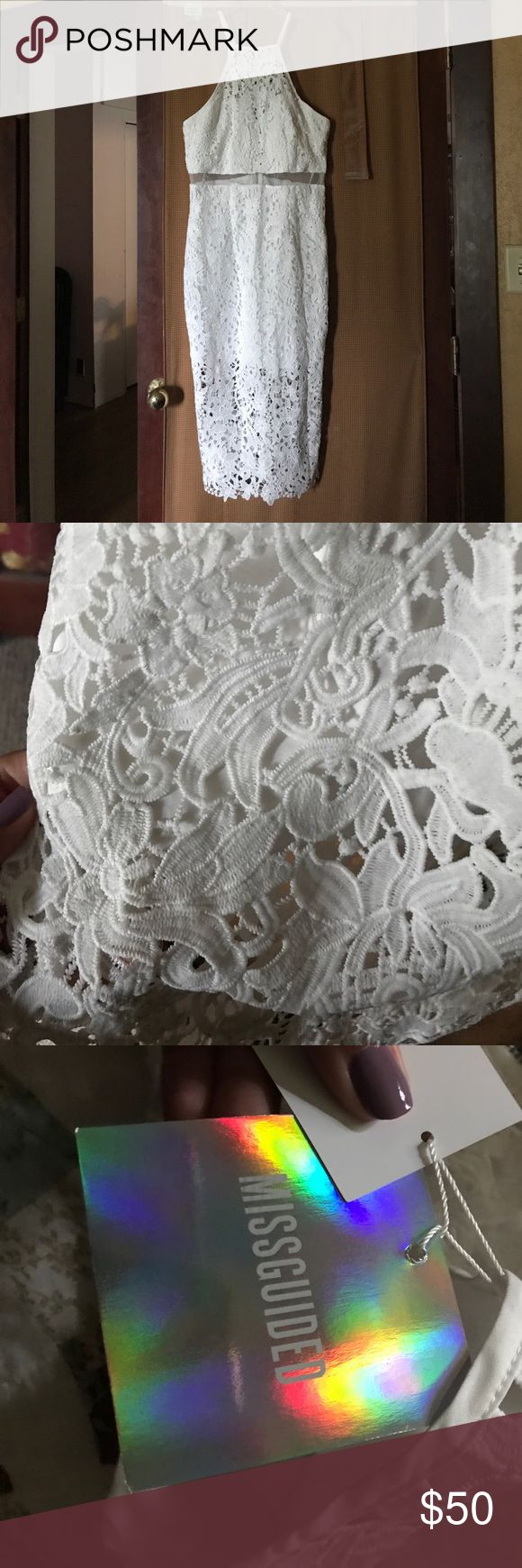 NWT Missguided white lace strappy midi dress Beautiful white lace midi dress from Missguided in a US size 8. Fits a 6/8 wonderfully, I just decided I didn't want it anymore. New with tags. Missguided Dresses Midi