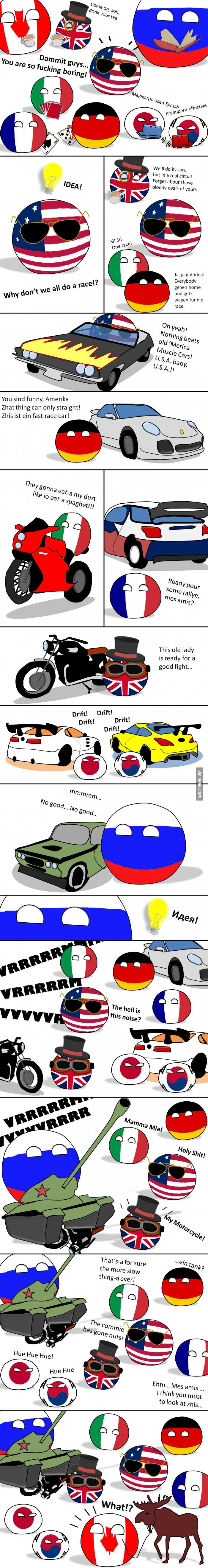Bets are open. Who's gonna win?  ( USA, UK, Germaney, Italy, France, Japan, South Korea, Russia, Canada )  #polandball #countryball #flagball