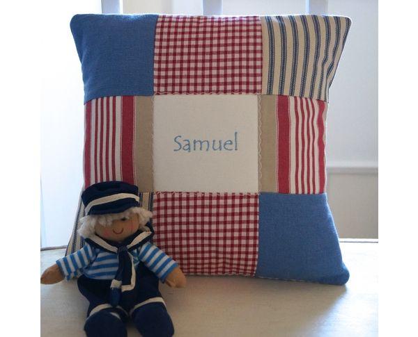 Sailor doll and blue name cushion gift set