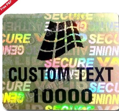 ~ 250x CUSTOM PRINTED Security Hologram Stickers, 27mm x 22mm, Customised Labels