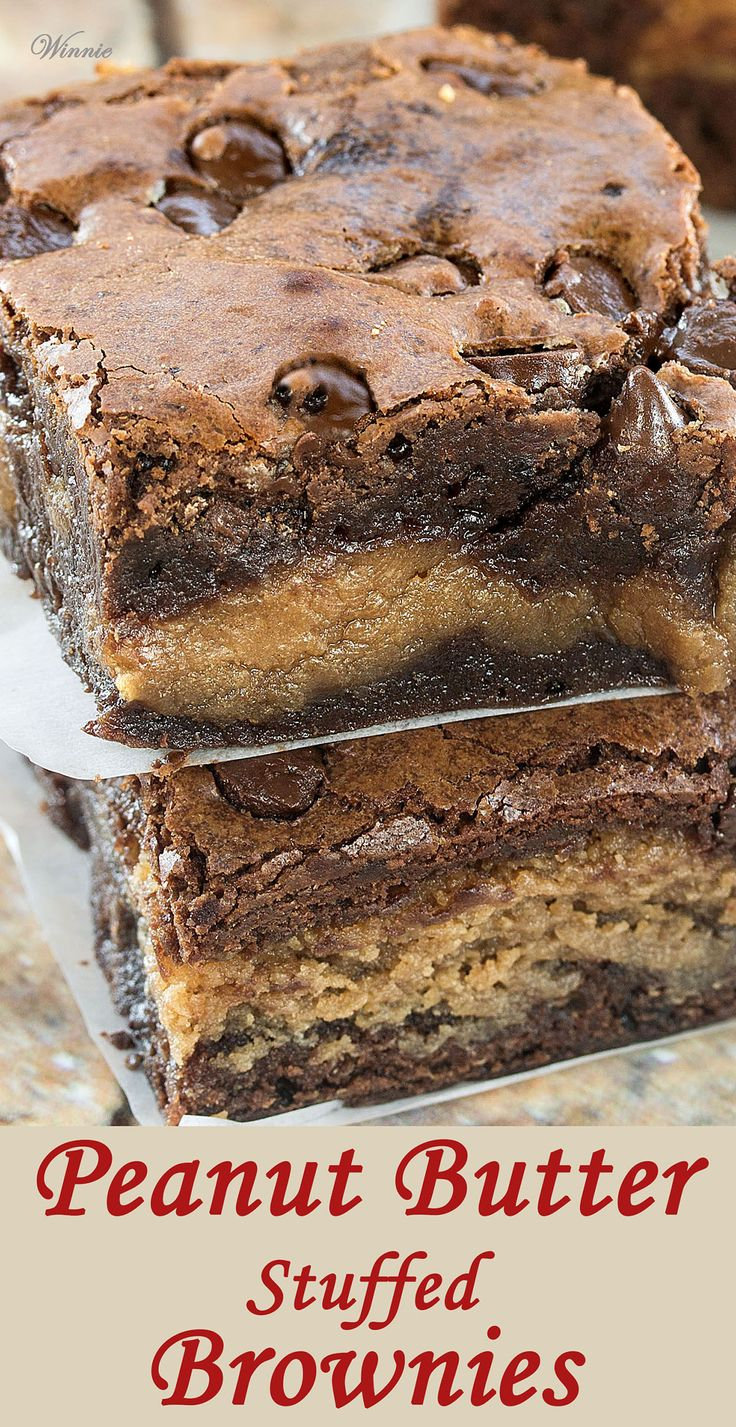 The most delicious treat - Peanut Butter Stuffed Brownies.http://www.winnish.net/2015/07/7210/