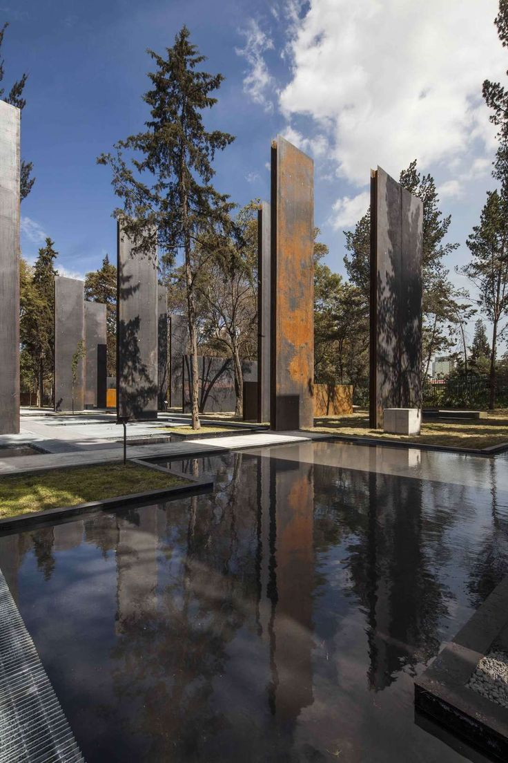 The memorial project consists on seventy metalic walls built in corten steel rising between the trees; it is a dual play between nature and architecture: the...