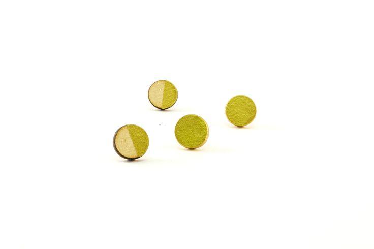 Wooden Stud Earrings | Handmade Painted Geometric Circle Gold Dip Wooden Earrings