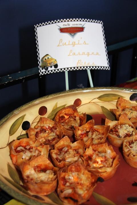 Luigi's Lasagna Bites - Cars Theme Birthday Party Food - sundaysatlark.com