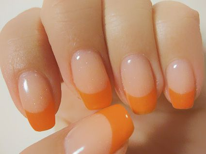 orange french nail