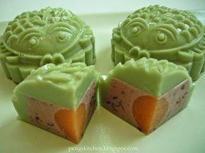 Peng's Kitchen: Green Tea & Red Bean Agar Agar Mooncake