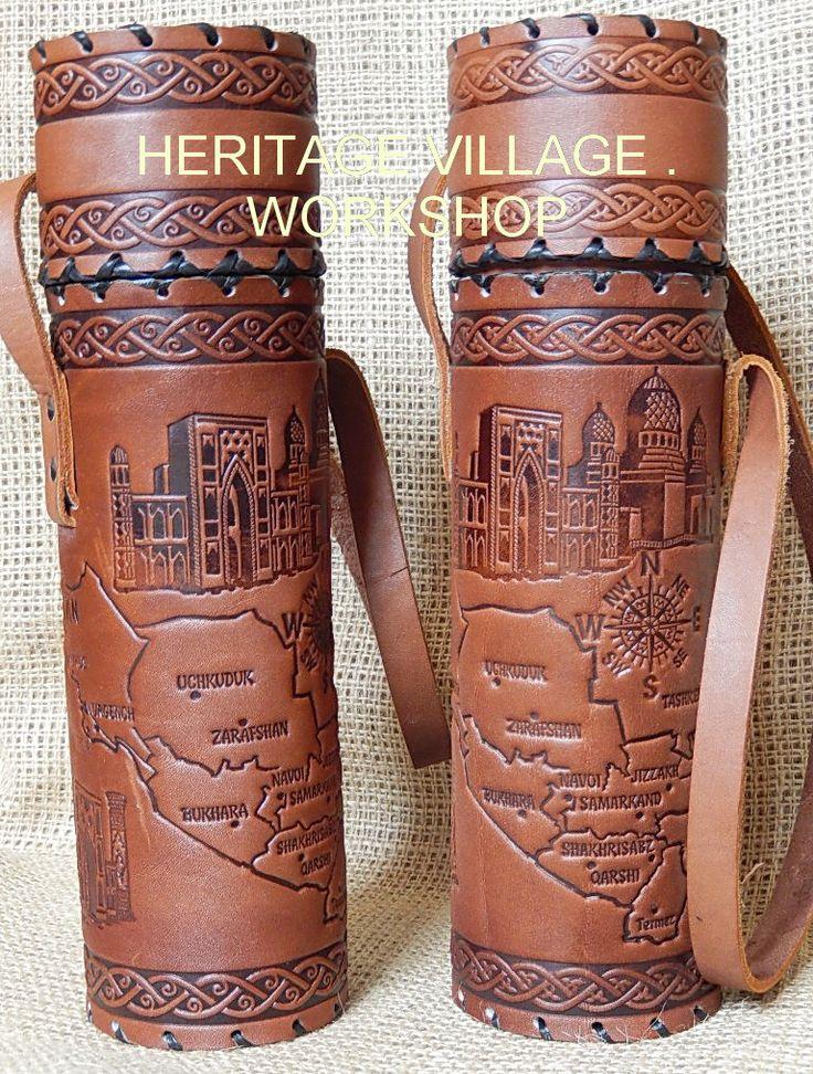 Handmade leather case for bottle or paper scroll with  Uzbekistan map . #bukhara , #uzbekistan , #leathercraft , #map