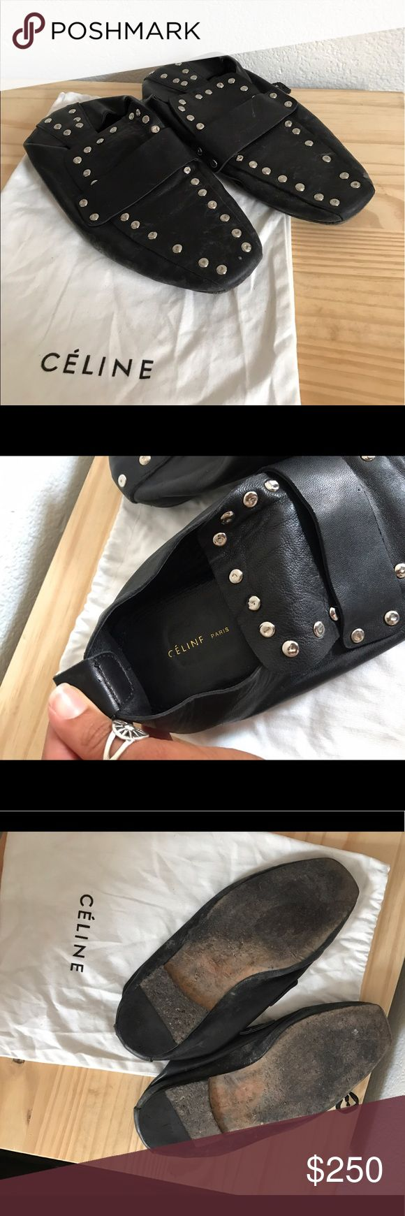 Celine Studded Loafer Slip On Nappa lamb skin / worn / signs of wearing : no box / Celine Shoes Flats & Loafers