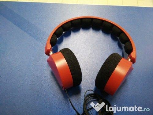 Căști audio cu bandă, culoare roșu