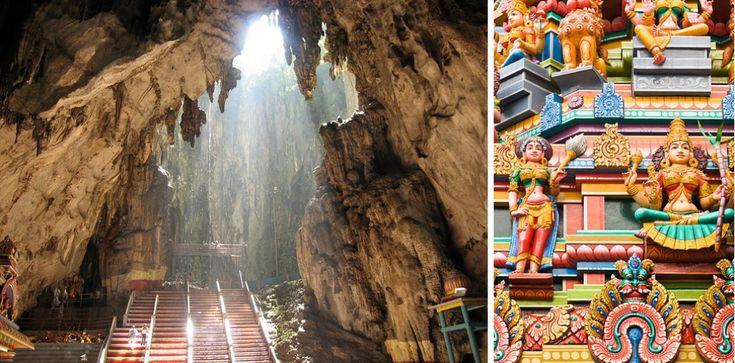 Пещеры Бату, Малайзия. Это действующий храм в Малайзии, куда ежегодно приезжает огромное количество паломников. Бату — одна из самых известных индуистских святынь за пределами Индии. Они образовались около 400 млн лет назад. Именно здесь находится высочайшая статуя бога Муругана, второго сына Шивы, которому поклоняются южные тамилы.   Источник: http://www.adme.ru/svoboda-puteshestviya/26-realnyh-mest-kotorye-vyglyadyat-tak-budto-oni-iz-skazki-901010/#image15326060 © AdMe.ru
