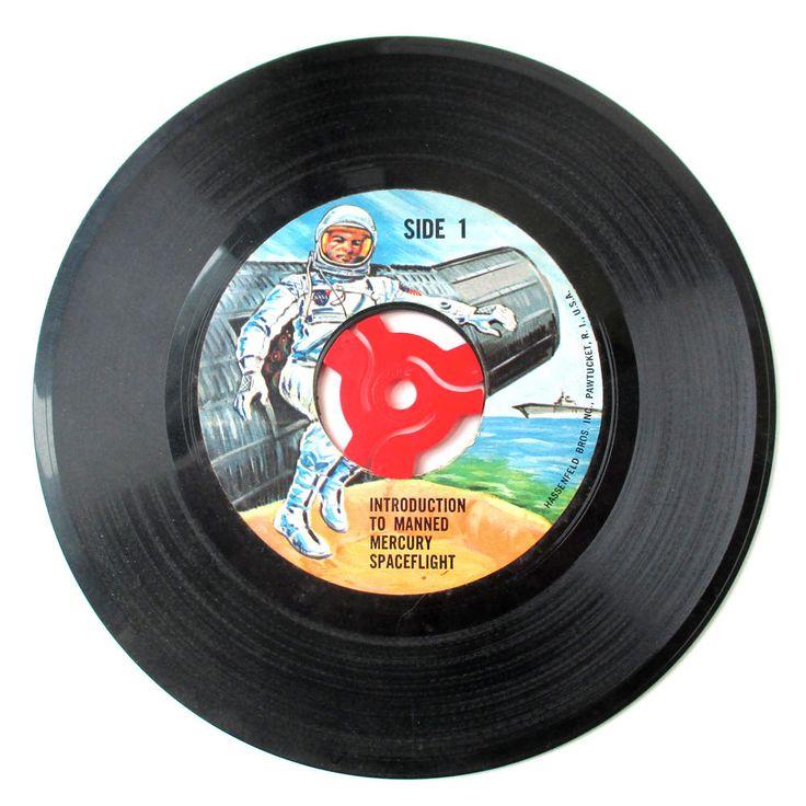 Vintage 45 Record Mecury Space Flight, NASA, Space Travel, Sci-Fi, John Glenn by QuirkMuseum on Etsy