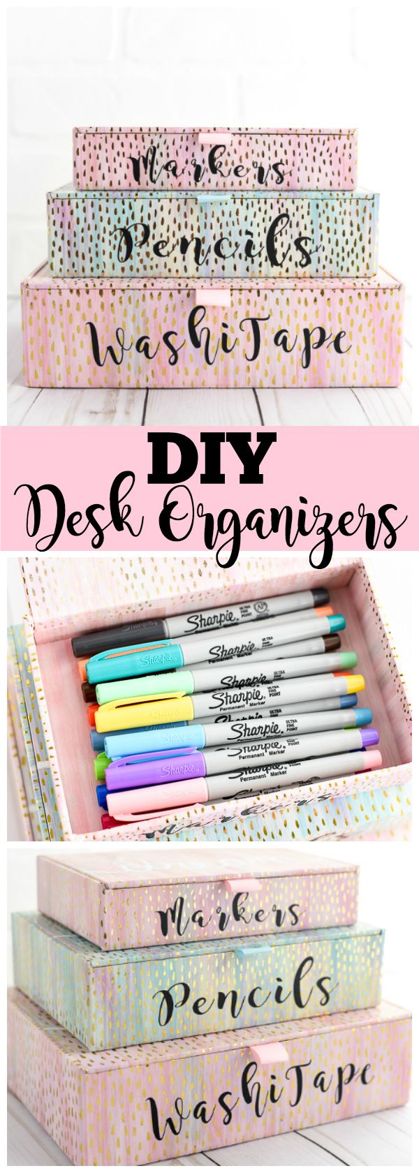 DIY Desk Organizers – keep your office and school supplies organized with vinyl labeled gold foil boxes MichaelsMakers A Pumpkin And A Princess