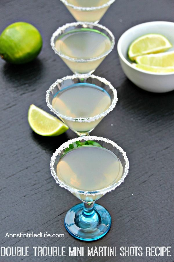 Double Trouble Mini Martini Shots Recipe; reinvent the classic martini with these pint-sized tequila martinis in mini glasses. Double trouble at your next party!