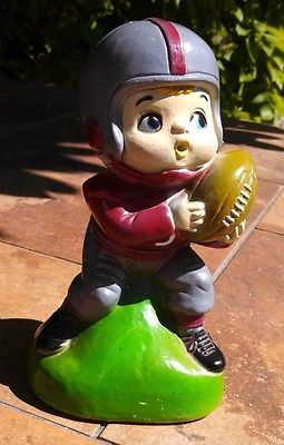 Vintage 1960's Cute Little Boy with helmet on Playing Football plastic Bank