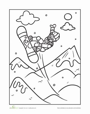 Kindergarten Sports Worksheets: Extreme Snowboarding Coloring Page