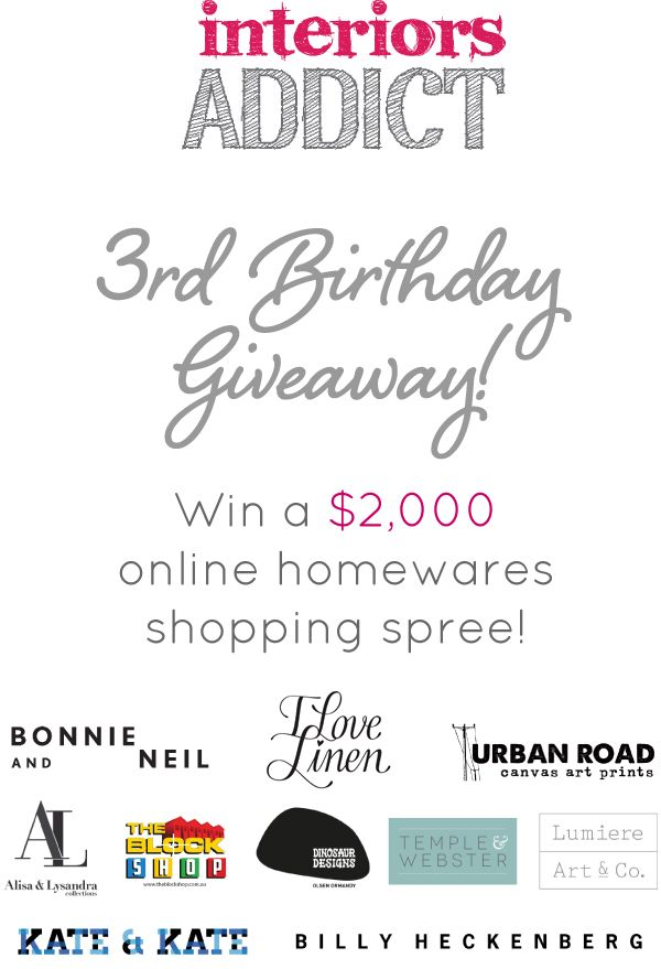 Win a $2,000 homewares shopping spree! #interiorsaddict