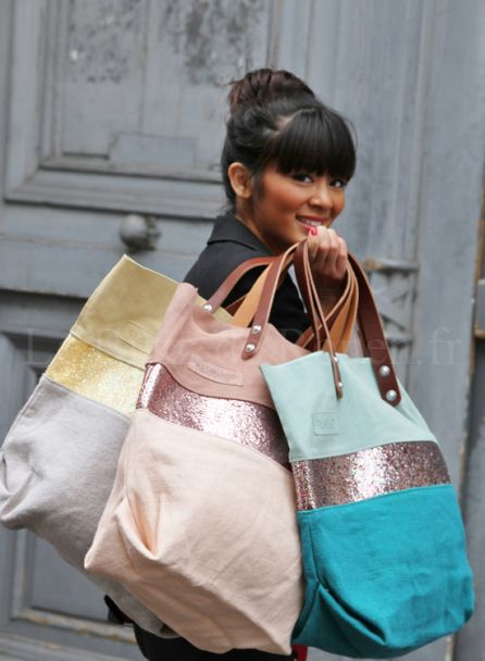 Estellon bags,168€.  I matched a suede foldover clutch from Iris Fashion to the powder-colored Estellon bag shown here in the middle, very pretty! Suede is delicate: I sprayed my bags with waterproofing used for shoes to protect them.