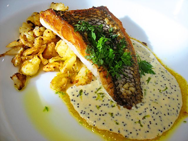 Sauteed red snapper with caramelized cauliflower, poppyseed-buttermilk ...