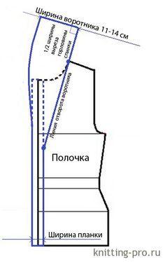 Расчет вязания цельно-вязанного воротника-шальки в поперечном направлении эластичным узором - knitting-pro.ru - От азов к мастерству