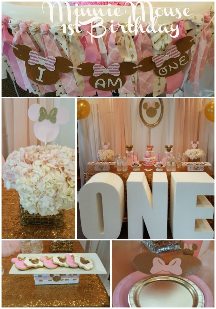 We Had The Pleasure Of Celebrating Nevaeh S 1st Birthday With A Pink Gold And White Minnie M Birthday Party Rentals Birthday Parties Minnie Mouse 1st Birthday