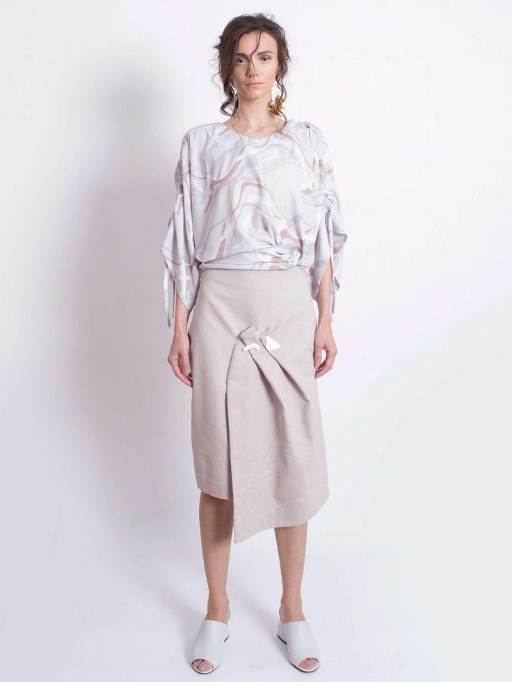 Folded Denim Skirt
