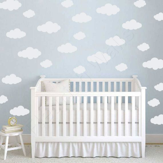 Clouds Decal  Baby Girl Nursery Wall Decal - This is an option for my ceiling.  I want clouds in the nursery. :)  Maybe silvery ceiling with white clouds?