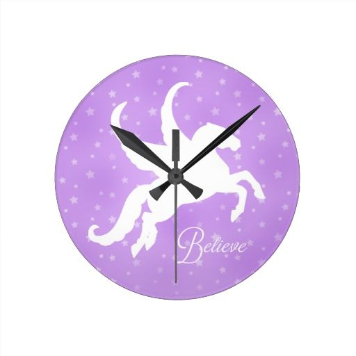Pretty Clocks | Pretty Pegasus Silhouette Wall Clock | Zazzle