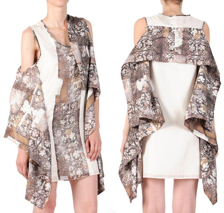 Heritage goes #digital!  #SandraGalan digitally printed silk Wings #Dress with neo #folk #print.