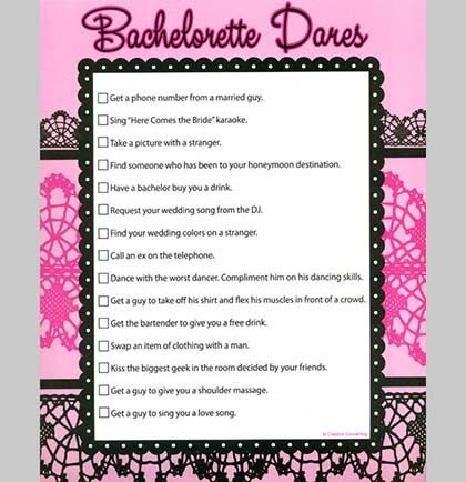 Wanna make your Bachelorette Party a WILD ONE? This Bachelorette Dares Sheet will have the Bachelorettes completing 15 Wildly FUN dares!