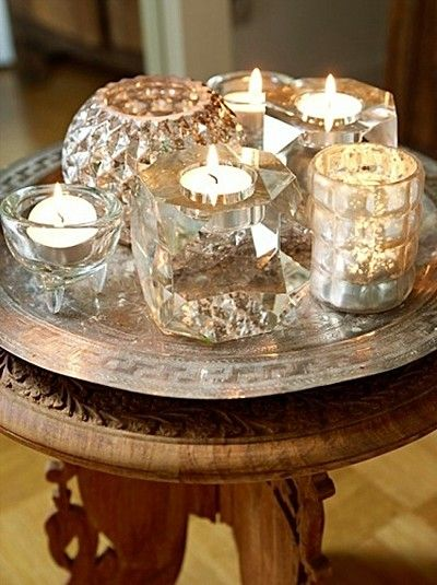pretty grouping of crystal candle holders  #home #decor #candles