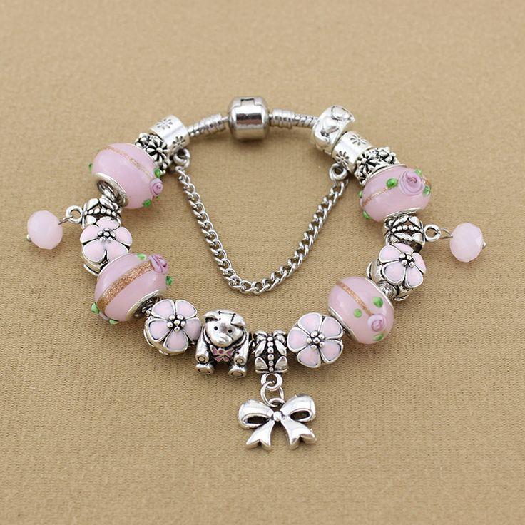 Gioielli di moda argento 925 di fascino del fiore borda i braccialetti & braccialetti rosa in vetro di murano braccialetti di fascino del fiore per le donne  (China (Mainland))