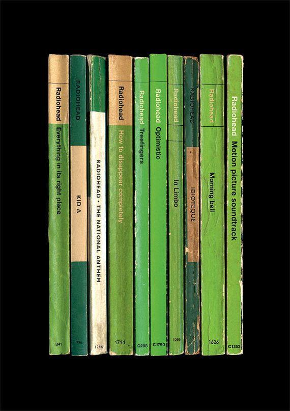 Radiohead 'Kid A' Album As Books Poster Print via Etsy