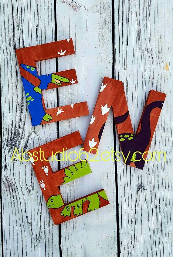 Wooden Letters For Nursery Dinosaur Nursery Decor Hand