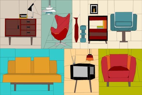 Retro Furniture Mini Quilt Paper Piecing quiltartdesigns.blogspot.com