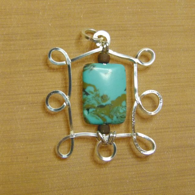 Silver and turquoise pendant. Hand crafted by Kathy Stewart - Glam N Glitter Eclectic Jewelry.