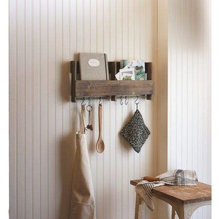 Wooden Shelf with S Hooks : Target.  for kitchen wall--mail, keys, small hanging potted plants, coffee cups, etc.