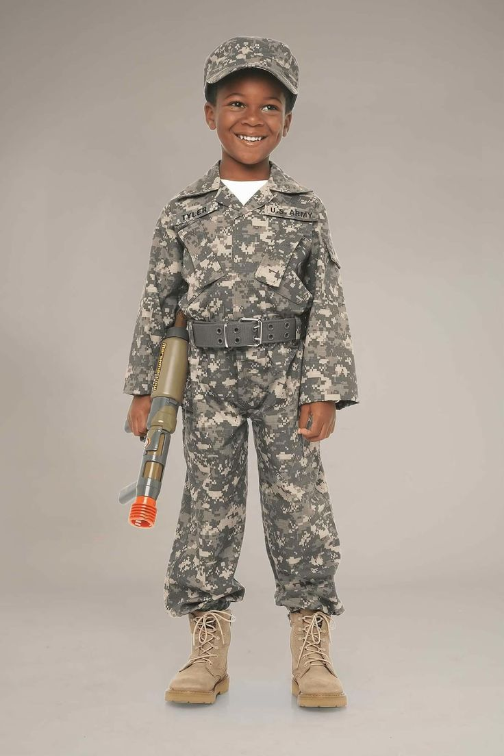 Personalized Desert Army Soldier Costume for Kids. Camouflaged army fatigues for little soldiers - they can even be personalized with U.S. Army & their name on the chest!