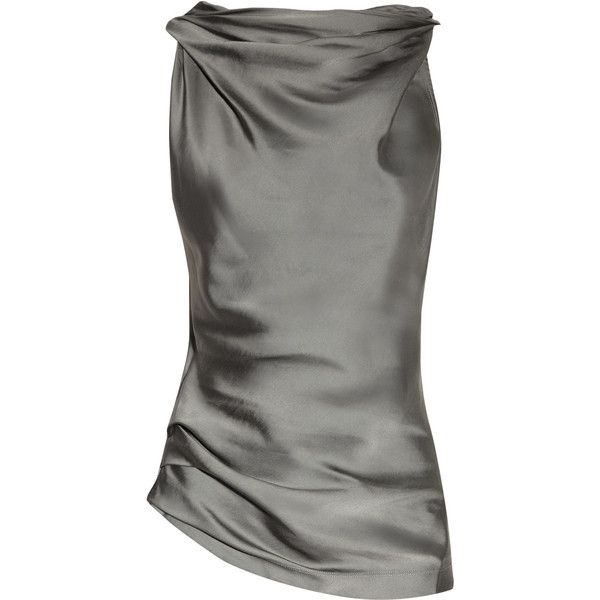 Donna Karan Cowl-neck matte-satin and jersey top via Polyvore