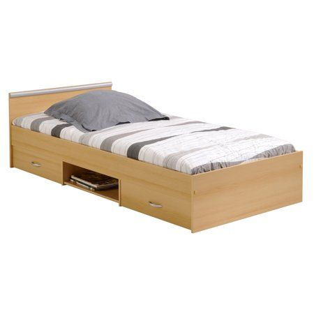 Alpha 2 Drawer Twin Storage Panel Bed Slats And Mattress Included