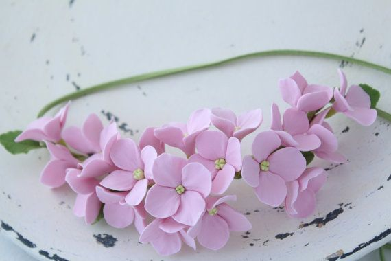 light pink hydrangea. Three in one: corsage, necklace or headband. Wear it, as you like it. All flowers made from polymer clay ClayCraft by Deco.