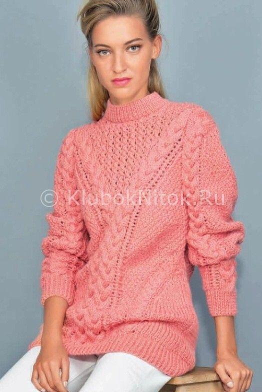 Свитер кораллового цвета | Вязание для женщин | Вязание спицами и крючком. Схемы вязания.
