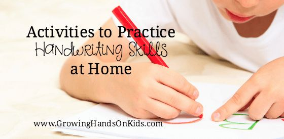 Activities to practice handwriting skills at home from a pediatric Occupational Therapy Assistant.