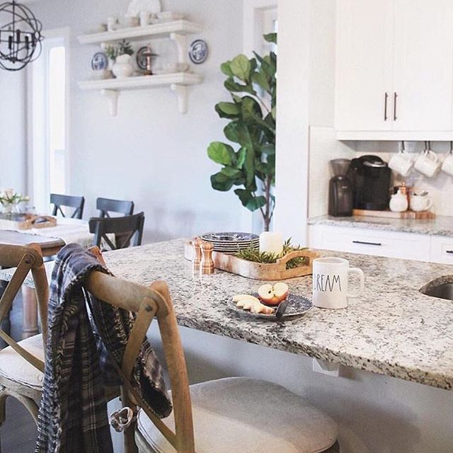 White kitchen, coffee bar, coffee station, restoration hardware barstools.