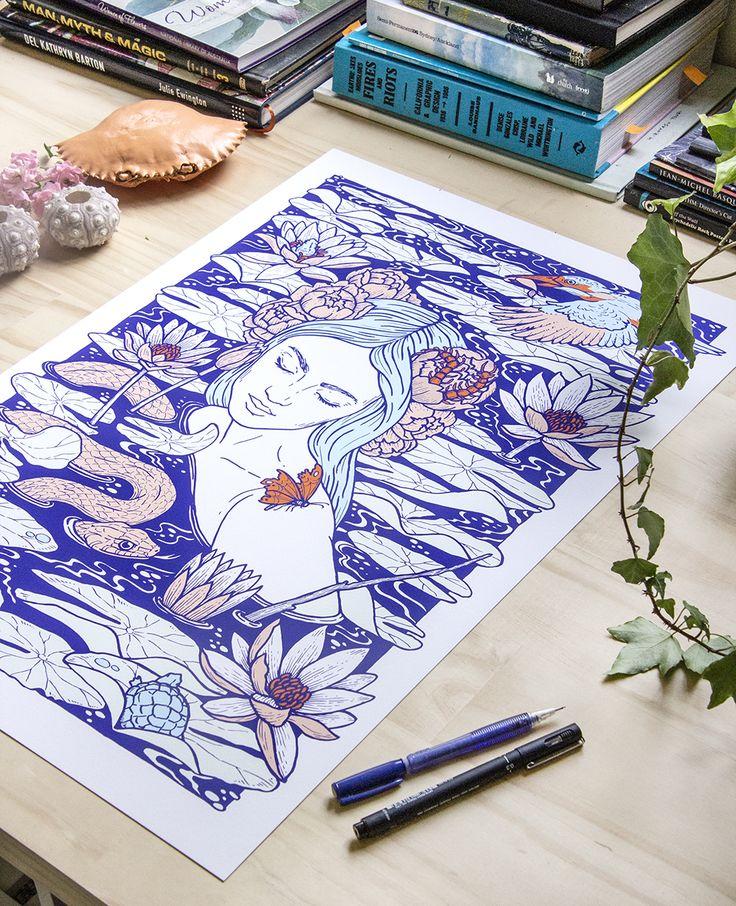Wade artwork print in @raychponygold studio // #illustration #drawing #art #woman #feminine #water #river #snake #ophelia