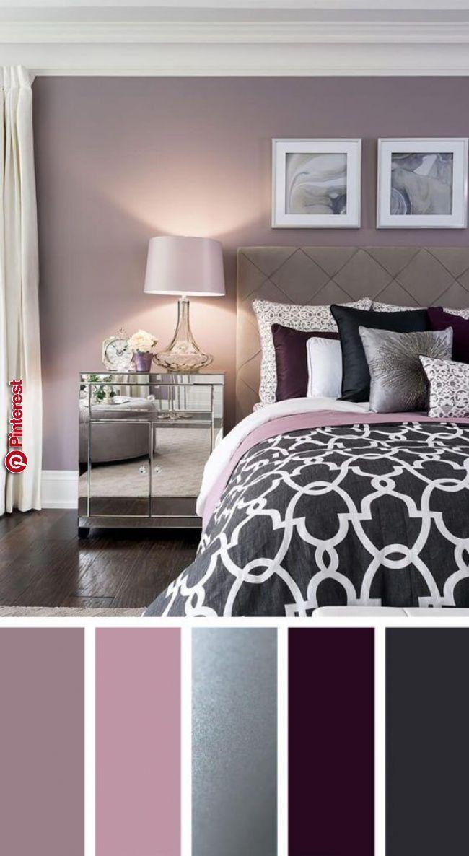 Elegant Silver Plum And Lavender Palette Bedroom In