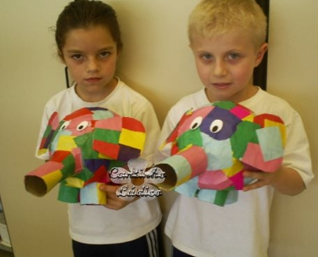 Elmer - paper mache with a balloon, paper tube and tissue paper