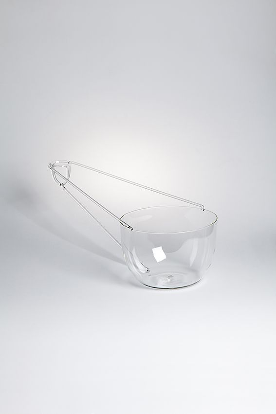 """PERSPECTIVE designed by Dean Brown - Adopting the principle of single point perspective drawing two spherical containers are physically and conceptuality joined. They are """"empty"""" and """"full"""" versions of each other, contrasting in scale and materiality – properties to contain different things. #drawingglass #fabricadesignstudio #fabrica #design #glass #deanbrown #massimolunardon"""