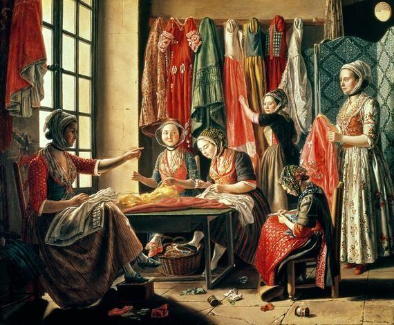 The Couturier's Workshop, Arles, 1760, by Antoine Raspal